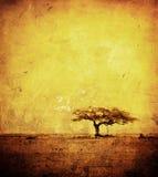 Het beeld van Grunge van een boom op een uitstekend document Royalty-vrije Stock Foto
