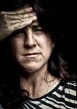 Het beeld van Grunge van een zeer beklemtoonde vrouw Royalty-vrije Stock Fotografie