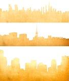 Het beeld van Grunge van geïsoleerdee cityscape Stock Afbeeldingen