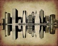 Het beeld van Grunge van New York horizon Stock Foto