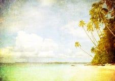 Het beeld van Grunge van tropisch strand royalty-vrije stock foto's