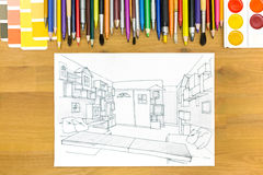 Het beeld van het architectenbureau Stock Afbeeldingen