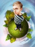 Het beeld van het concept over groene planeet Stock Afbeelding