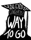 Het beeld van het graduatieontwerp, gelukwensen om met GLB en leeswijzer een diploma te behalen stock illustratie