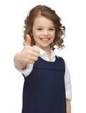 Het meisje van de pre-tiener het tonen beduimelt omhoog Royalty-vrije Stock Afbeelding