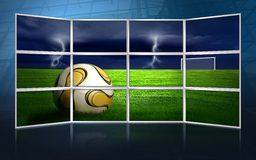 Het beeld van het voetbal op monitors Royalty-vrije Stock Afbeeldingen
