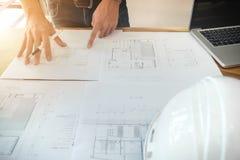 Het beeld van ingenieur of architecturaal project, sluit omhoog van Architec royalty-vrije stock afbeelding