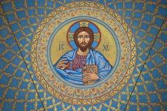 Het beeld van Jesus Christ op de binnenkant van de koepel in de zeekathedraal van Sinterklaas Kronstadt Stock Foto's