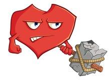 Het beeld van leuk cartoonwildhart met een hamer Illustratie royalty-vrije illustratie