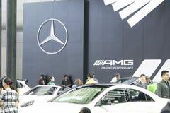 Het beeld van mensen in auto'stentoonstelling toont bij Motorshow Stock Foto