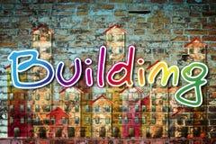 Het beeld van het openbaar gebouwconcept dat op een bakstenen muur wordt geschilderd stock illustratie