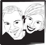 Het Beeld van portretselfie van Zwart-wit Paar - stock illustratie