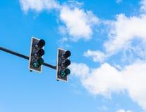 het beeld van verkeerslicht, wordt het groene licht aangestoken symbolisch voor ga Royalty-vrije Stock Foto's