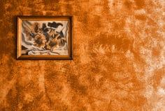 Het beeld van zonnebloemen op muur Stock Foto