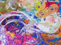 Het beeld, vat geschilderd canvas als veelkleurige achtergrond samen stock foto