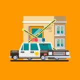 Het beeld Vlakke vectorillustratie van de politiewagenpatrouille Stock Foto