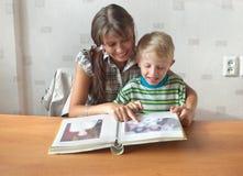 Het beeldalbum van de familie Stock Foto