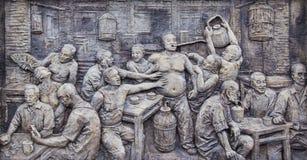 Het beeldhouwwerk in Oude stad van Ma zong Xi, het chongqing stock afbeeldingen