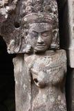 Het beeldhouwwerk van Angkorwat stock afbeeldingen