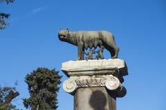 Het beeldhouwwerk van de Capitolinewolf met Romulus en Remus Capitoline Hill Rome Italy Stock Foto