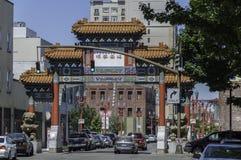 Het beeldhouwwerk van de Chinatowngateway in Portland, Oregon stock fotografie