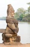 Het beeldhouwwerk van de demon bij de poort Angkor Thom van de Overwinning Stock Fotografie