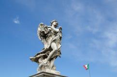 Het beeldhouwwerk van de engel in Rome, Italië Stock Foto