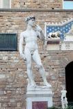 Het beeldhouwwerk van Florence van David Michelangelo in Piazza Della Signoria Florence, Italië De Oriëntatiepunten van Florence royalty-vrije stock afbeelding
