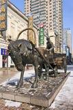 Het beeldhouwwerk van het brons in stadscentrum, Harbin, China Stock Afbeeldingen
