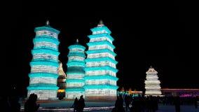 Het beeldhouwwerk van het het Ijsfestival van Harbin Royalty-vrije Stock Fotografie