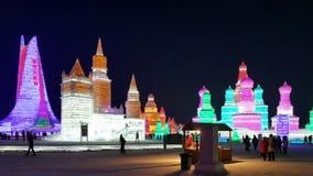 Het beeldhouwwerk van het het Ijsfestival van Harbin Stock Afbeelding