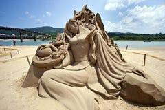 Het beeldhouwwerk van het het meisjezand van de fee Stock Afbeeldingen