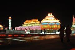 Het beeldhouwwerk van het ijs in Harbin Stock Foto
