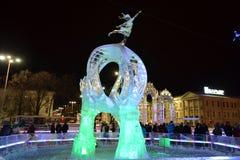 Het Beeldhouwwerk van het ijs van een Draak royalty-vrije stock foto