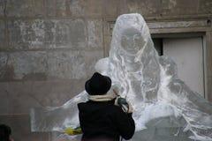 Het Beeldhouwwerk van het ijs van een Draak Royalty-vrije Stock Fotografie