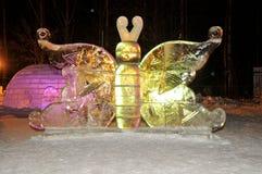 Het Beeldhouwwerk van het ijs van een Draak Royalty-vrije Stock Foto's