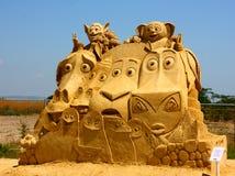 Het beeldhouwwerk van het zand van de film van Madagascar Stock Afbeeldingen