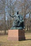 Het beeldhouwwerk van Roman Emperor Nerva, april-dag Tsarskoye Selo Stock Foto