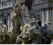 Het beeldhouwwerk van Rome, Italië, de Zomertijd stock afbeeldingen