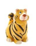 Het beeldje van de tijger op wit Royalty-vrije Stock Afbeelding