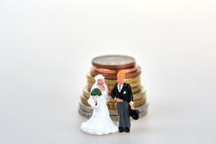 Het beeldje van het huwelijkspaar en euro muntstukkenstapel Royalty-vrije Stock Afbeeldingen