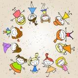 Het beeldverhaal abstracte gelukkige jonge geitjes van de handtekening Stock Fotografie