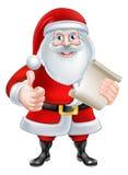 Het beeldverhaal beduimelt omhoog Kerstman met Lijst Royalty-vrije Stock Afbeelding