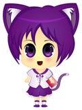 Het Beeldverhaal Cat Girl van Chibianime in Eenvormige School Royalty-vrije Stock Fotografie
