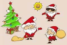 Het beeldverhaal de Kerstman plaatste op duidelijke achtergrond, vector en krabbel s vector illustratie