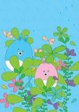 Het beeldverhaal draagt Bladeren bloeit Rainy_eps Stock Fotografie
