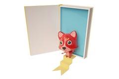 Het beeldverhaal Firefox kwam uit de boeken, 3D illustratie Royalty-vrije Stock Foto's