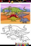 Het beeldverhaal kleurend boek van de dinosaurussengroep vector illustratie