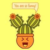Is het beeldverhaal lachende cactus-meisje met uitdrukking u zo grappig! royalty-vrije illustratie