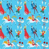 Het beeldverhaal naadloos patroon van circuskunstenaars Royalty-vrije Stock Foto